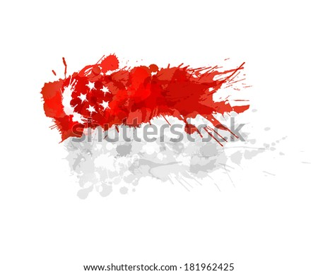 Flag of Singapore made of colorful splashes - stock vector