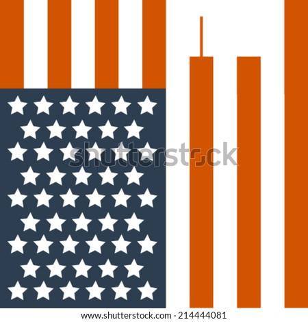 911 flag. Remembering september 11. - stock vector