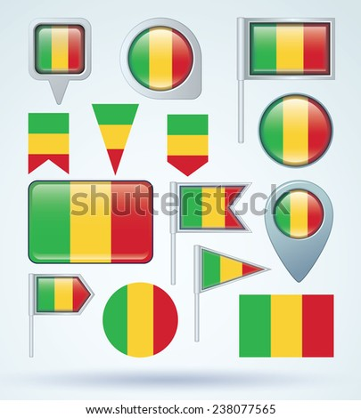 Flag set of Mali, vector illustration