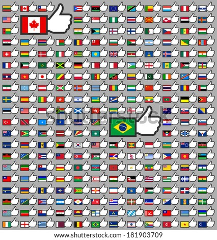 216 Flags in the Thumbs up, vector illustration, set (march 2014)