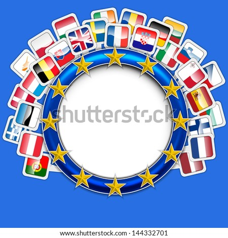 28 flags of european union vector - stock vector