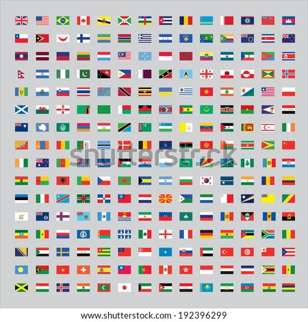 224 Flags of the world - stock vector