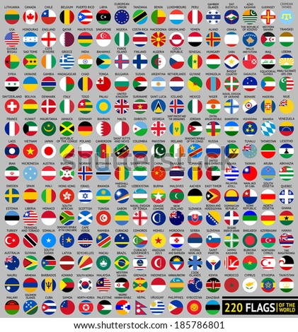 220 Flags of the world, circular shape, flat vector illustration - stock vector