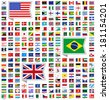 219 Flags of world, flat vector illustration, set (march 2014) - stock photo