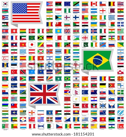 219 Flags of world, flat vector illustration, set (march 2014) - stock vector