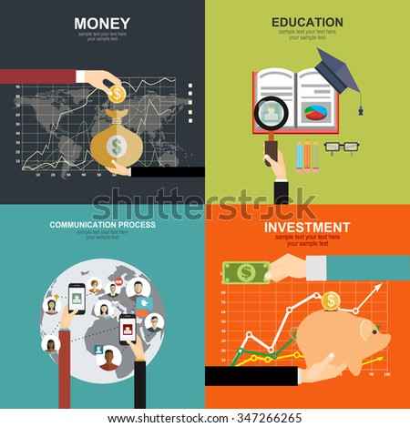 Flat background with hand and money bag. Money making. Bank deposit. Financials.set icons about course search, presentation, online education.  Global communication.Architecture and design. - stock vector