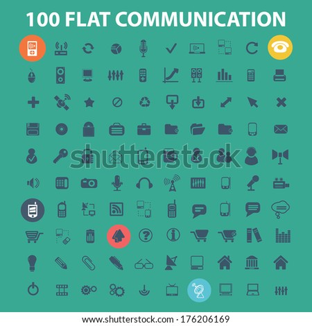 100 flat communication, phone, connection, internet, design icons set, vector - stock vector