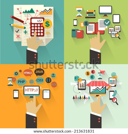 Flat design. Set of business concept with hands. - stock vector