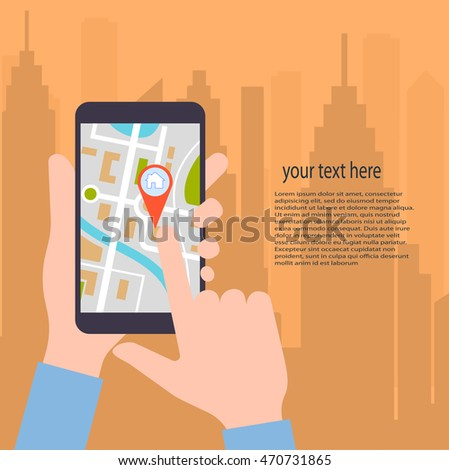 flat design vector illustration.GPS technology laying of a route travel ,tourism