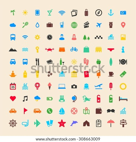 100 flat design vector travel, vacation, city, sea, holiday icon collection