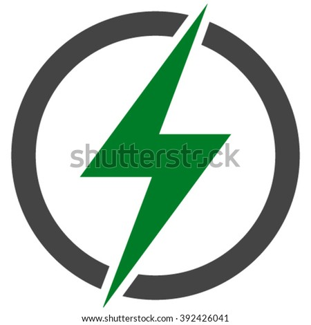 Flat green and gray electricity icon.  - stock vector