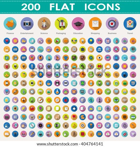200 flat icons collection. - stock vector