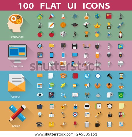 100 flat icons collection .Elements of this image furnished by NASA - stock vector