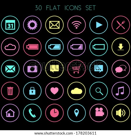 30 Flat Icons on Black Background- Web, Mobile, App - vector EPS10