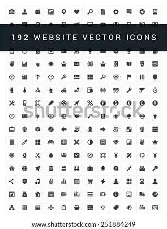 192 Flat icons vector set for web site design, infographics, ui and mobile apps. Objects, business, office, communication and digital marketing items  - stock vector
