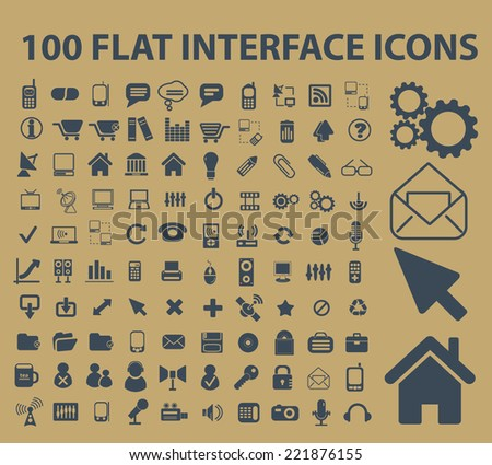 100 flat interface, office, document icons, signs, silhouettes, illustrations set, vector - stock vector