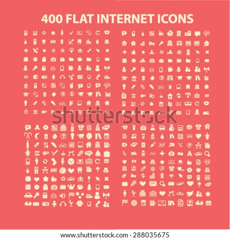 400 flat internet, business, media, website, interface, holidays icons, signs, illustrations set, vector - stock vector
