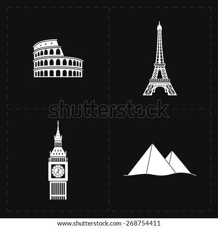 4 flat landmark icons - stock vector