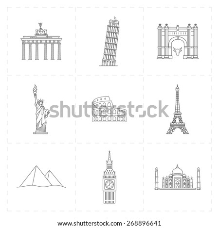 9 flat landmark icons - stock vector