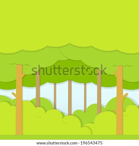 flat paper Illustration of the green forest - stock vector