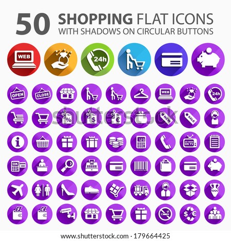 50 Flat Shopping Icons white Shadows on Circular Buttons. - stock vector