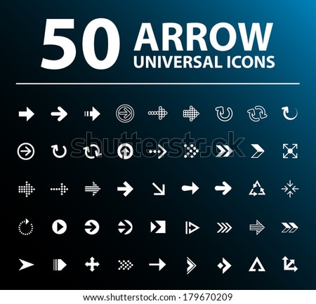50 Flat  Universal Arrow Icons.