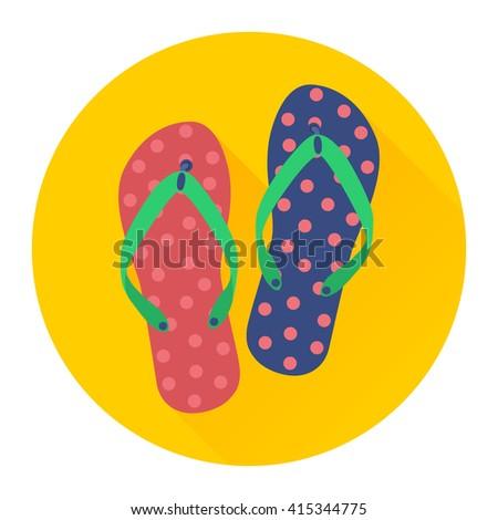 Flat vector icon of flip flops. - stock vector