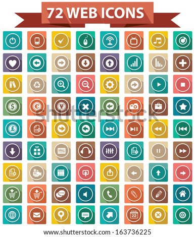 72 Flat Website Icons,Colorful version,vector - stock vector