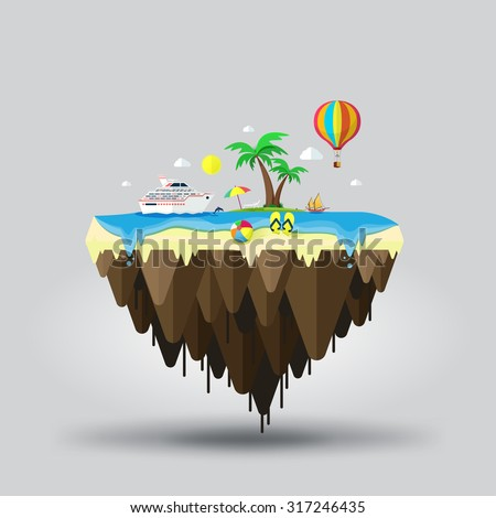 Floating island. Beach tourism. Travel and tourism - stock vector
