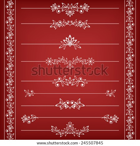 Floral borders collection. Vector illustration. - stock vector