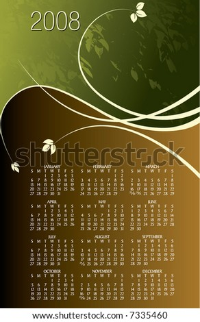 2008 floral calendar. With Space reserved for your logo and text.