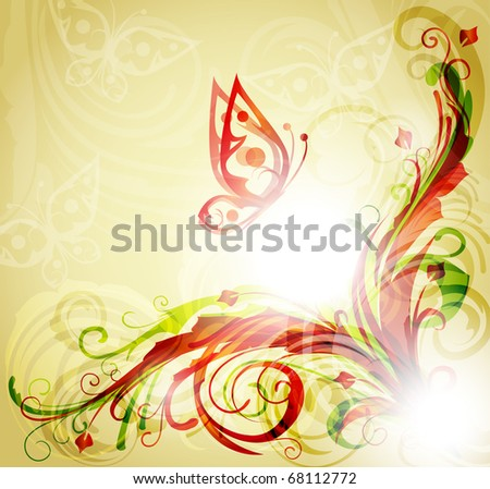 Floral corner design with butterfly - stock vector