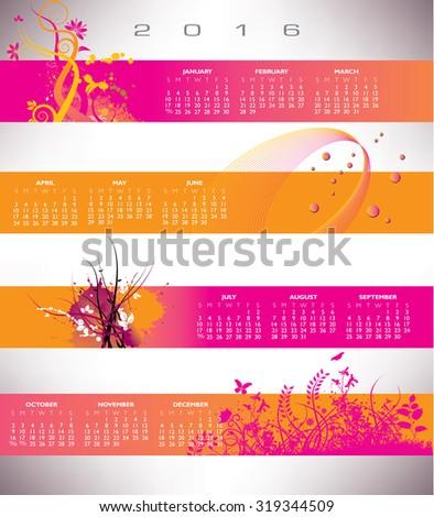 2016 Floral grunge banner calendar - stock vector