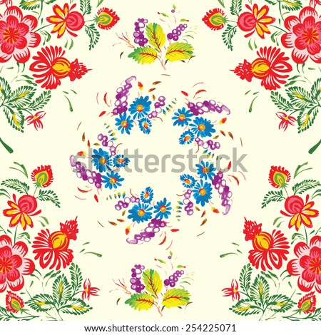 floral pattern in folk style (Petrykivsky Painting, Ukraine), EPS10 - stock vector