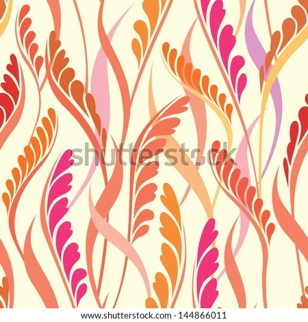 Floral vector pattern. Floral multicolor seamless background in Hawaiian style. Ornamental leaves seamless background. - stock vector