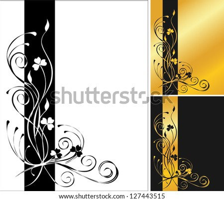 3 flower backgrounds - stock vector