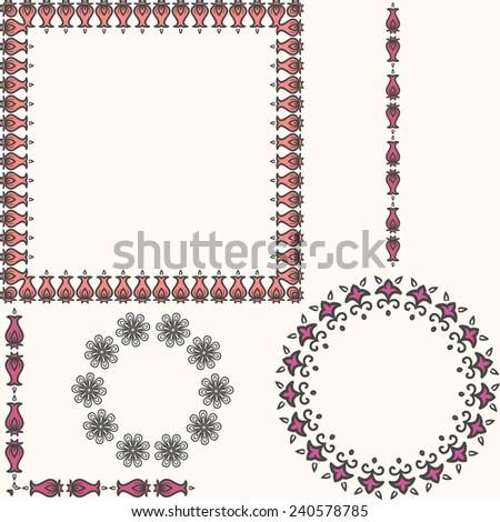 Flower frame. Border, vector. - stock vector
