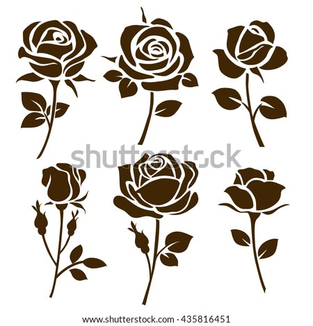 Flower icon. Set of decorative rose silhouettes - stock vector