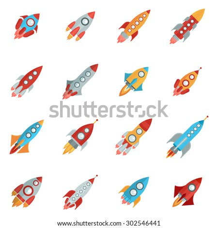 Flying bright space rocket icons set with launch and fire flat isolated vector illustration  - stock vector