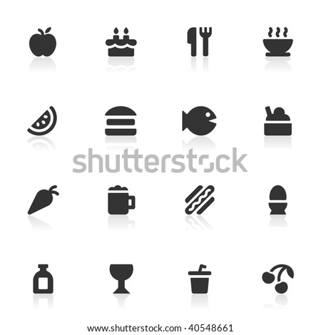 16 food and drink vector icons.