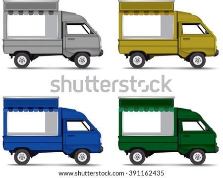 food bus with awning isolated on white background, copy space for your logo, text or message
