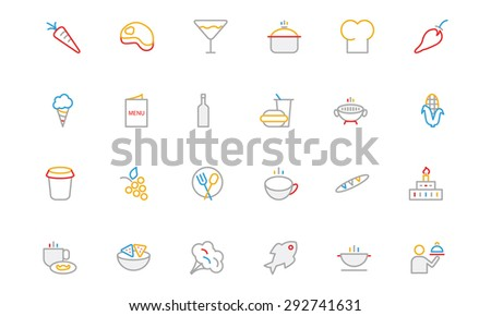 Food Colored Outline Vector Icons 2  - stock vector