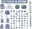 50 food & drink icons, signs, vector set - stock vector