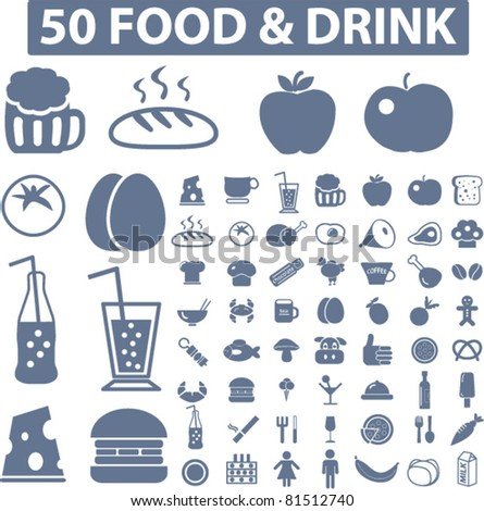 50 food & drink icons, signs, vector set