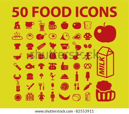50 food icons, signs, vector illustrations - stock vector
