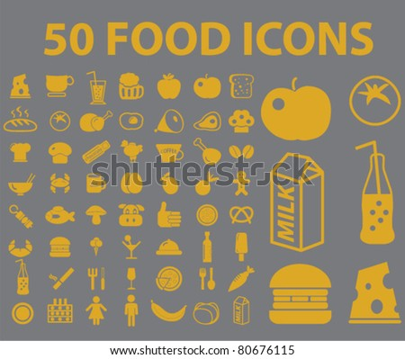 50 food icons, vector