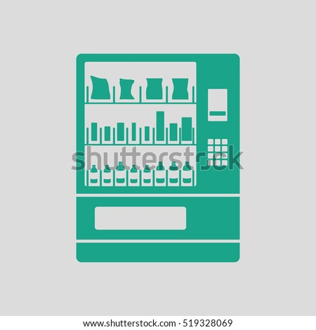 Food selling machine icon. Gray background with green. Vector illustration.