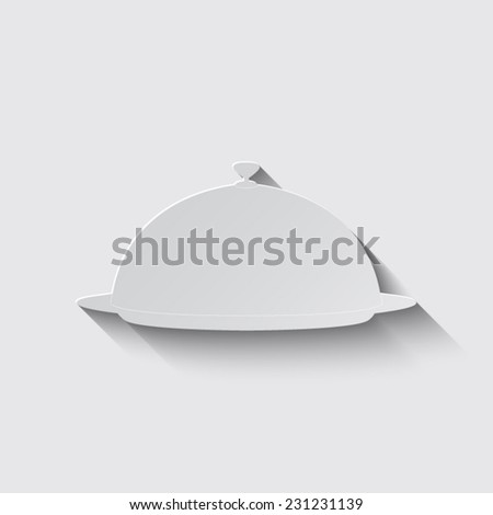 Food serving tray platter with shadow on a grey background - stock vector