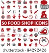 50 food shop icons, signs, vector illustrations - stock vector