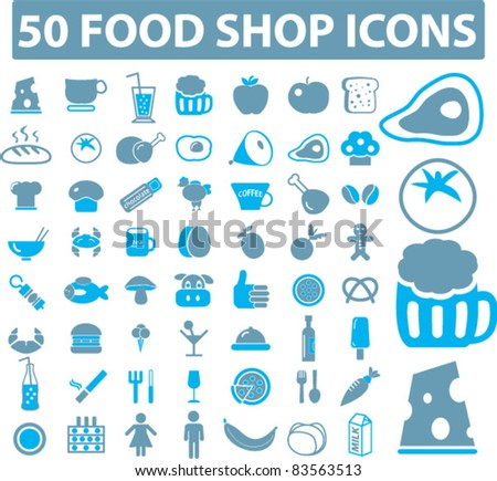 50 food shop icons, vector